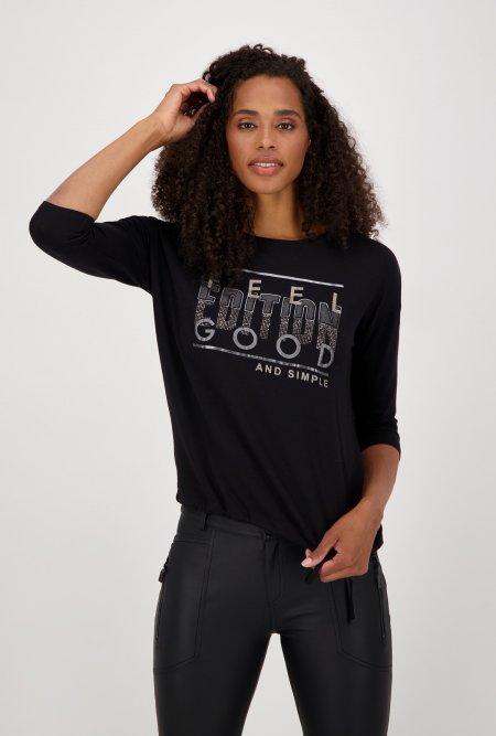 Jersey_Shirt_mit_¾_Arm_und_Print-Schwarz-monari