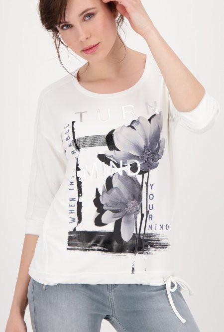 Rundhals_Shirt_mit_¾_Arm_und_Flower_Print-Weiß-Off-White-Blau-monari
