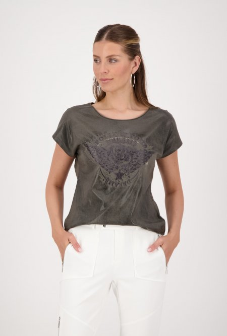T-Shirt_mit_Glanzeffekt_und_Print-Grün-Khaki-monari