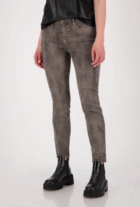 Bedruckte_5_Pocket_Jeans_mit_Strass-Grün-Khaki-monari